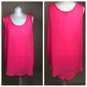Plus Size Active Basics Pink hi-lo too Sleeveless